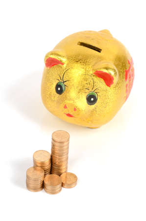 Piggy bank and coins photo