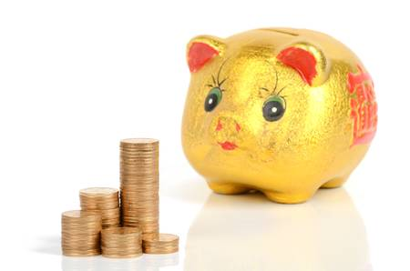 Piggy bank and coins Stock Photo - 12178018