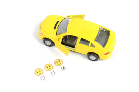 gladness: Toy car and emoticon