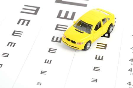 eyesight: Toy car and eyesight chart