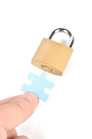 Puzzle and padlock Stock Photo - 12224435