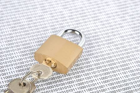Binary code and padlock photo