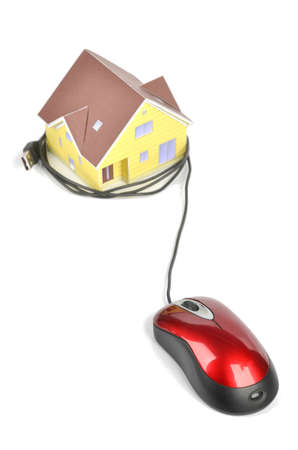 Model house and computer mouse Stock Photo - 12224473