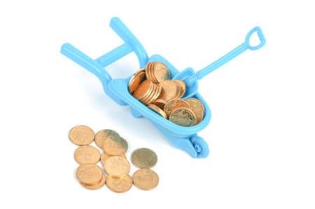 pushcart: Toy pushcart and coins