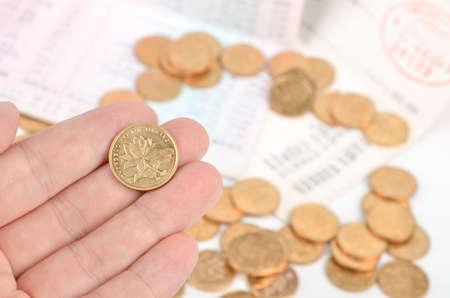 passbook: Passbook and coins