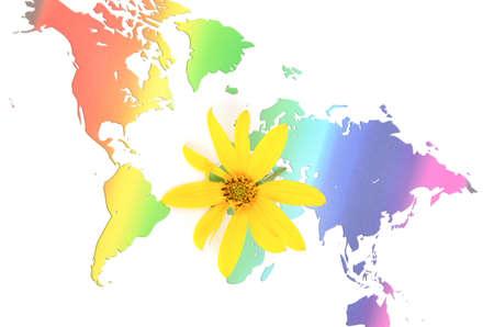 Jerusalem artichoke flowers and world map Stock Photo - 12237300