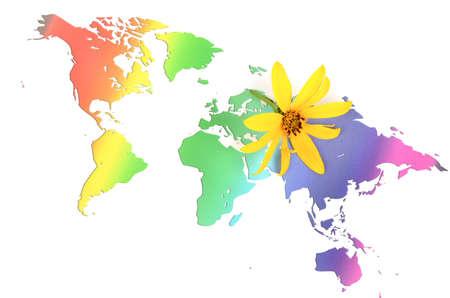 Jerusalem artichoke flowers and world map Stock Photo - 12237359