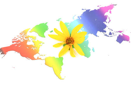 Jerusalem artichoke flowers and world map photo