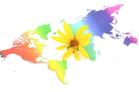 Jerusalem artichoke flowers and world map Stock Photo - 12211137