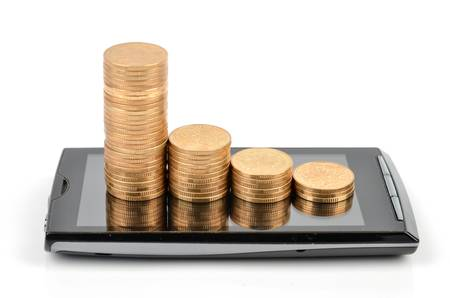 Smart phone and coins photo