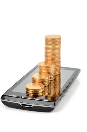 mobile phone icon: Smart phone and coins Stock Photo