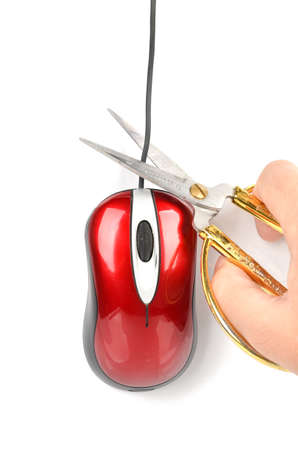 cable cutter: Scissors and computer mouse