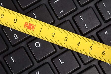 steel tape: Steel tape and keyboard