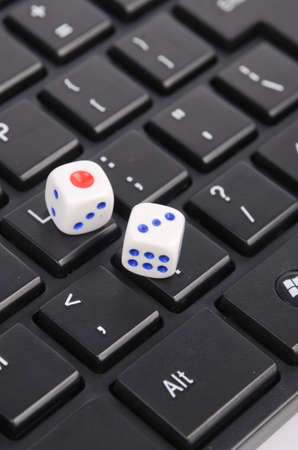 Dice rolled on computer mouse photo