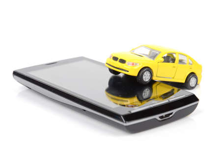 Toy car and smart phone Stock Photo - 12293156
