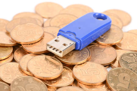 USB key and coins Stock Photo - 12289765