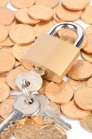 Padlock and coins photo