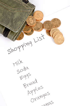 coins shot in golden color: Shopping list Stock Photo