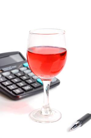 Wine and calculator photo