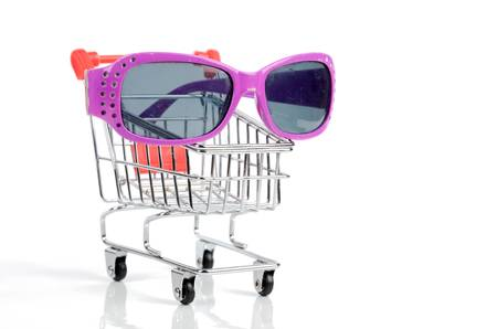 Shopping cart and sunglasses Stock Photo - 12341425