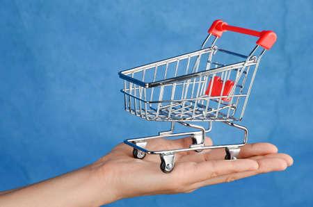 Shopping cart in hand photo