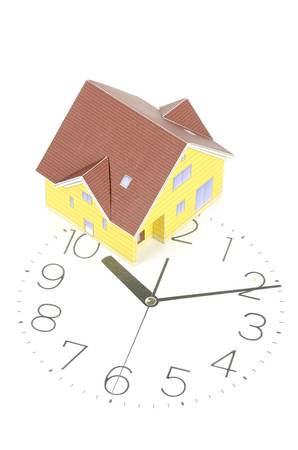 arabic numeral: Model house and clock face Stock Photo