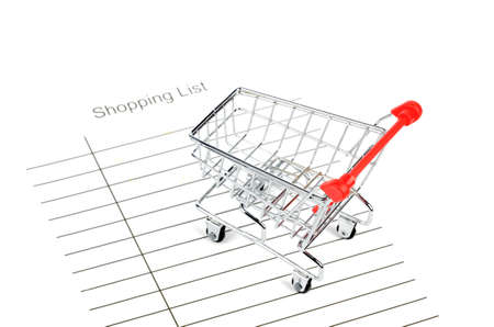 Shopping cart and shopping list Stock Photo - 12445860