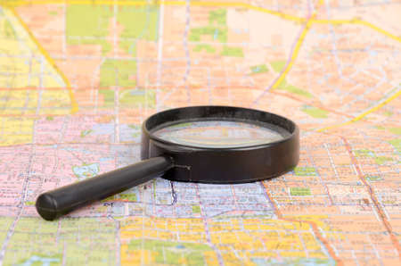 Map and magnifier photo