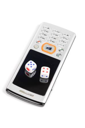 Mobile phone and dices photo