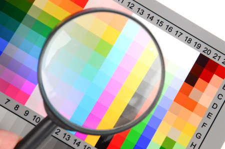 Magnifier and color card Stock Photo - 12460280
