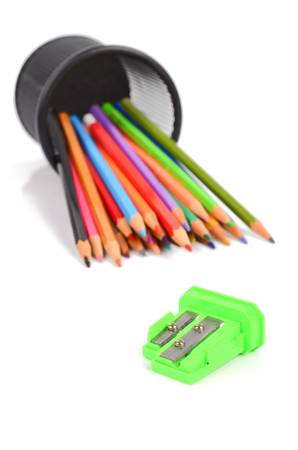 Color pencils and sharpener photo