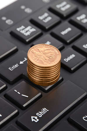 Keyboard and coins photo