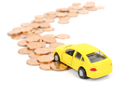 Toy car and coins photo