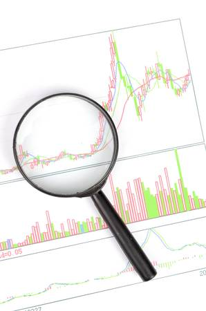 Magnifier glass and charts photo