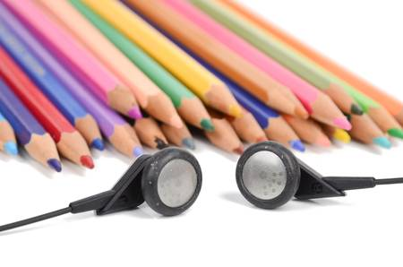 ear phones: earphone and color pencils Stock Photo