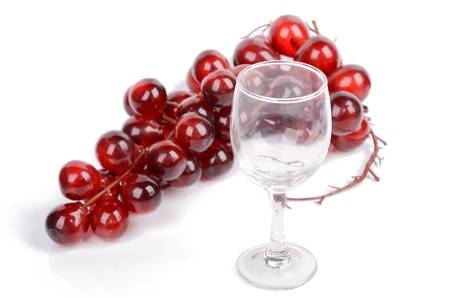 Wine glass and grape photo