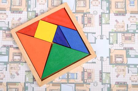 color tangram: Blueprint and chinese tangram