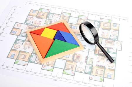 Blueprint and chinese tangram photo