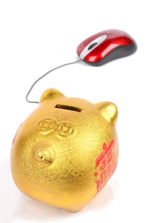 Piggy bank and mouse