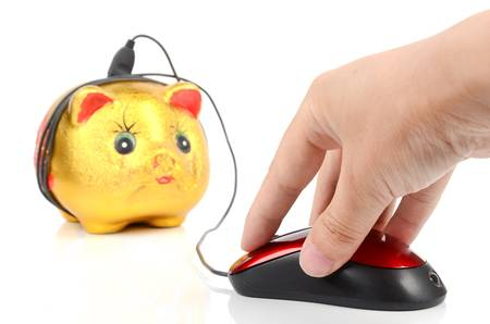 Piggy bank and mouse photo