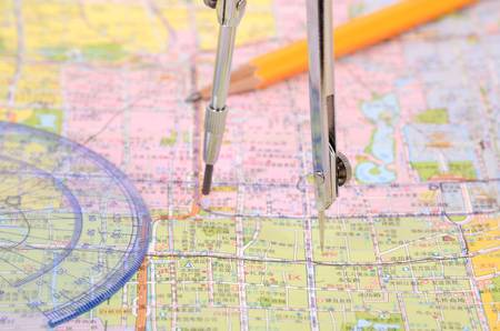Plotting on a map Stock Photo - 12690194