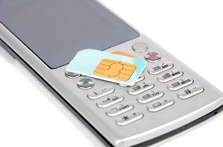 Sim card and phone Stock Photo - 12698857