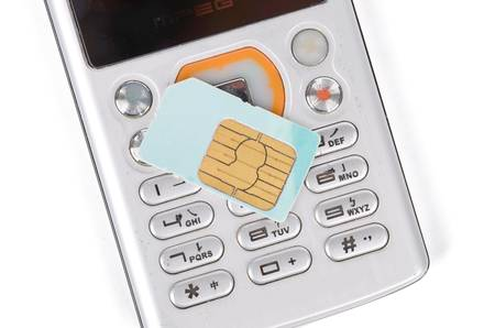 Sim card and phone Stock Photo - 12698779