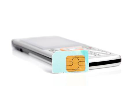 Sim card and phone Stock Photo - 12699079