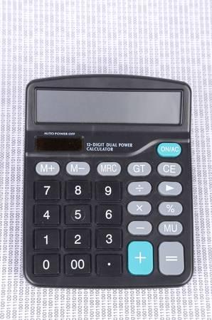 Calculator and binary code photo