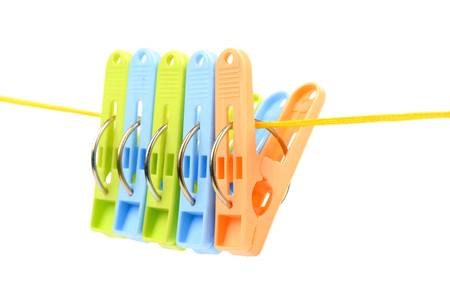 Clothespin on a cord Stock Photo - 12823045