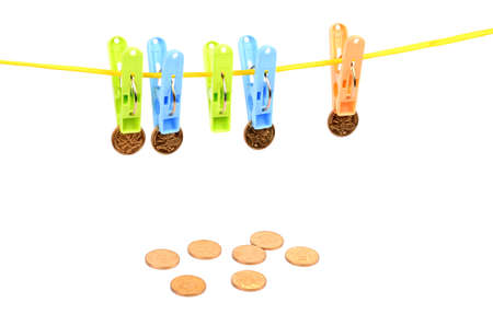 clench: Clothespin and coins