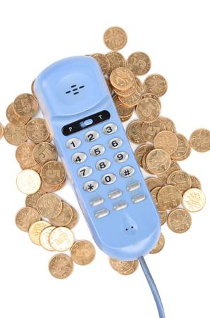 Telephone and coins Stock Photo - 12821613