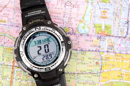 Map and digital compass Stock Photo - 12818314
