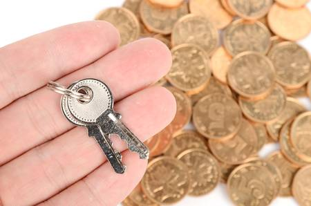 Coin and key Stock Photo - 12820638